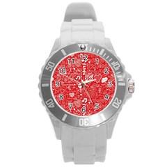 Happy Valentines Love Heart Red Round Plastic Sport Watch (L)