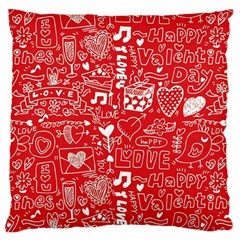 Happy Valentines Love Heart Red Large Cushion Case (One Side)