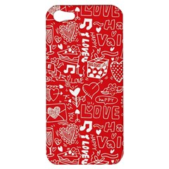 Happy Valentines Love Heart Red Apple iPhone 5 Hardshell Case