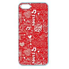 Happy Valentines Love Heart Red Apple Seamless iPhone 5 Case (Color)