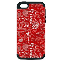 Happy Valentines Love Heart Red Apple iPhone 5 Hardshell Case (PC+Silicone)