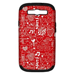 Happy Valentines Love Heart Red Samsung Galaxy S III Hardshell Case (PC+Silicone)
