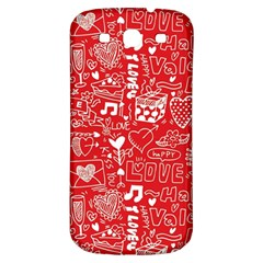 Happy Valentines Love Heart Red Samsung Galaxy S3 S III Classic Hardshell Back Case