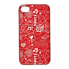 Happy Valentines Love Heart Red Apple iPhone 4/4S Hardshell Case with Stand