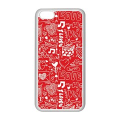 Happy Valentines Love Heart Red Apple iPhone 5C Seamless Case (White)