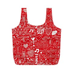 Happy Valentines Love Heart Red Full Print Recycle Bags (M)