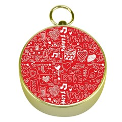 Happy Valentines Love Heart Red Gold Compasses