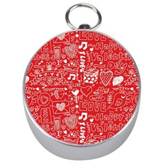 Happy Valentines Love Heart Red Silver Compasses