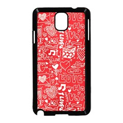 Happy Valentines Love Heart Red Samsung Galaxy Note 3 Neo Hardshell Case (Black)