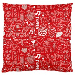 Happy Valentines Love Heart Red Standard Flano Cushion Case (Two Sides)