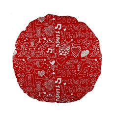 Happy Valentines Love Heart Red Standard 15  Premium Flano Round Cushions