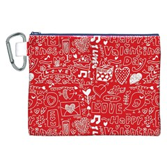 Happy Valentines Love Heart Red Canvas Cosmetic Bag (XXL)