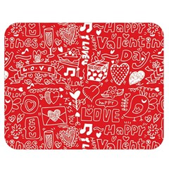 Happy Valentines Love Heart Red Double Sided Flano Blanket (Medium)