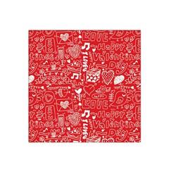 Happy Valentines Love Heart Red Satin Bandana Scarf