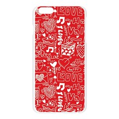 Happy Valentines Love Heart Red Apple Seamless iPhone 6 Plus/6S Plus Case (Transparent)