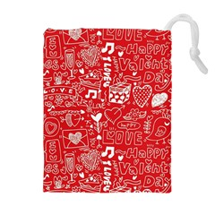 Happy Valentines Love Heart Red Drawstring Pouches (Extra Large)