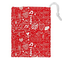 Happy Valentines Love Heart Red Drawstring Pouches (XXL)