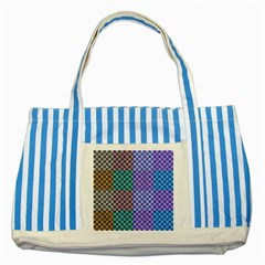 Alphabet Number Striped Blue Tote Bag