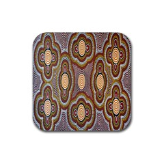 Aborigianal Austrialian Contemporary Aboriginal Flower Rubber Coaster (Square)