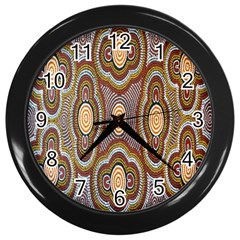 Aborigianal Austrialian Contemporary Aboriginal Flower Wall Clocks (Black)