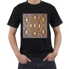 Aborigianal Austrialian Contemporary Aboriginal Flower Men s T-Shirt (Black) (Two Sided)