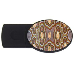 Aborigianal Austrialian Contemporary Aboriginal Flower USB Flash Drive Oval (4 GB)