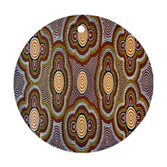 Aborigianal Austrialian Contemporary Aboriginal Flower Round Ornament (Two Sides)