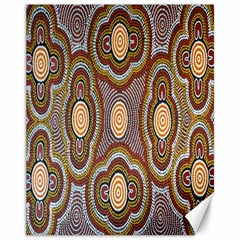 Aborigianal Austrialian Contemporary Aboriginal Flower Canvas 11  x 14