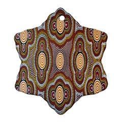 Aborigianal Austrialian Contemporary Aboriginal Flower Snowflake Ornament (Two Sides)