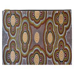 Aborigianal Austrialian Contemporary Aboriginal Flower Cosmetic Bag (XXXL)
