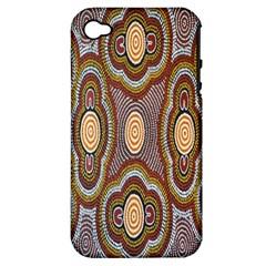 Aborigianal Austrialian Contemporary Aboriginal Flower Apple iPhone 4/4S Hardshell Case (PC+Silicone)