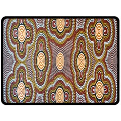 Aborigianal Austrialian Contemporary Aboriginal Flower Double Sided Fleece Blanket (Large)