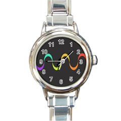 Artwork Simple Minimalism Colorful Round Italian Charm Watch