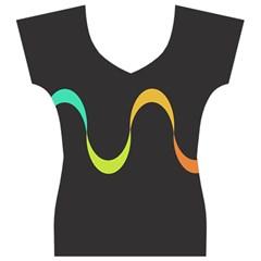 Artwork Simple Minimalism Colorful Women s V-Neck Cap Sleeve Top