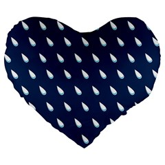 Another Rain Day Water Blue Large 19  Premium Flano Heart Shape Cushions