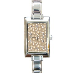 Background Bones Small Footprints Brown Rectangle Italian Charm Watch