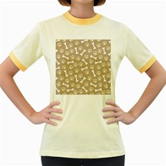 Background Bones Small Footprints Brown Women s Fitted Ringer T-Shirts