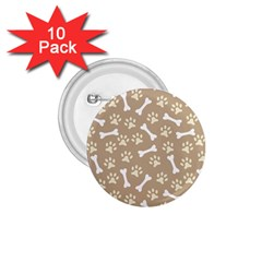Background Bones Small Footprints Brown 1.75  Buttons (10 pack)