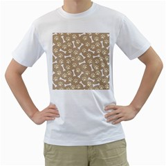 Background Bones Small Footprints Brown Men s T-Shirt (White) (Two Sided)