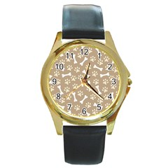 Background Bones Small Footprints Brown Round Gold Metal Watch