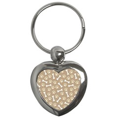 Background Bones Small Footprints Brown Key Chains (Heart)