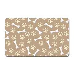 Background Bones Small Footprints Brown Magnet (Rectangular)