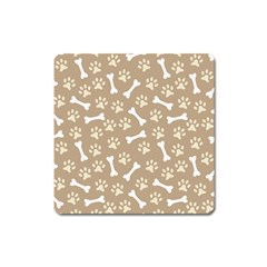 Background Bones Small Footprints Brown Square Magnet
