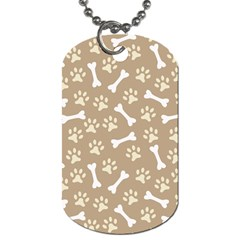 Background Bones Small Footprints Brown Dog Tag (One Side)