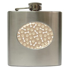 Background Bones Small Footprints Brown Hip Flask (6 oz)