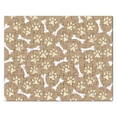 Background Bones Small Footprints Brown Rectangular Jigsaw Puzzl