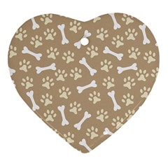 Background Bones Small Footprints Brown Heart Ornament (Two Sides)