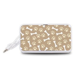 Background Bones Small Footprints Brown Portable Speaker (White)