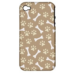 Background Bones Small Footprints Brown Apple iPhone 4/4S Hardshell Case (PC+Silicone)