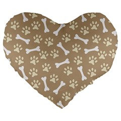 Background Bones Small Footprints Brown Large 19  Premium Heart Shape Cushions